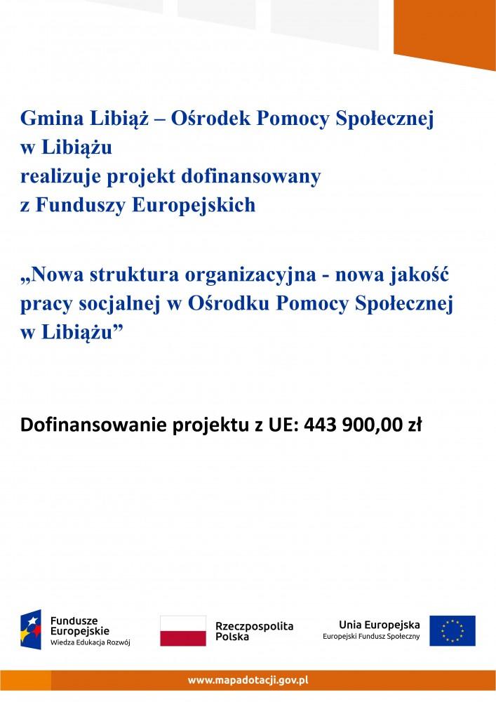 Plakat informacyjny o dofinansowaniu projektu z Funduszy Europejskich